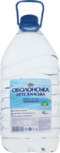 Вода питна негазована Артезіанська Оболонська п/пл 6л