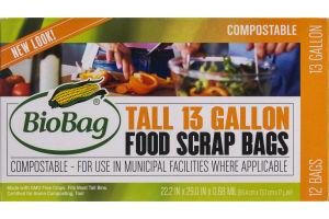 BioBag Compostable Tall 13 Gallon Food Scrap Bags - 12 CT