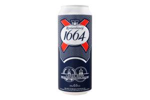 Пиво 0.5л 5% світле пастеризоване Kronenbourg 1664 з/б