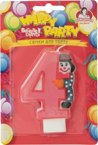 Свеча-цифра для торта с клоуном №4 Happy Party Помічниця 1шт