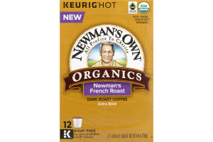 Newman's Own Organics Dark Roast Coffee K-Cup Pods Newman's French Roast - 12 CT