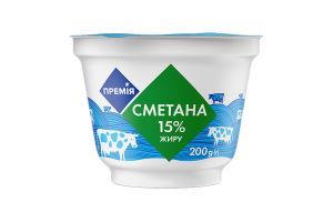 Сметана Премія Молочный двор 15% стакан