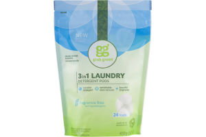 Grab Green 3 In 1 Laundry Detergent Pods Fragrance Free - 24 CT