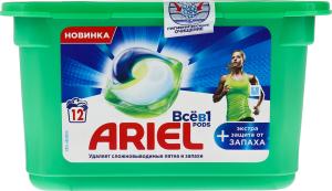 Засіб миючий синтетичний рідкий в розчинних капсулах Екстра захист від запаху Ariel 12х25.1г