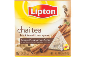 Lipton Chai Tea Pyramid Tea Bags Spiced Cinnamon Chai - 18 CT