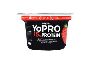 Йогурт высокопротеиновый нежирный с наполнителем клубника YoPro ст 160г
