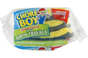 (CN) Chore Boy Heavy Duty Scrubbing Sponges - 3 PK, Chore Boy Eponges A Recurer Pur Gros Travaux - 3 PK