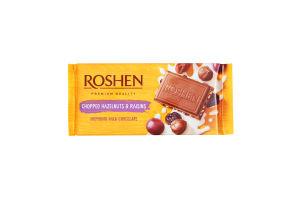Шоколад Рошен молочний з подрібненими лісовими горіхами та родзинками 90г ВКФ