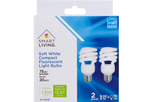 Smart Living Soft White Compact Fluorescent Light Bulbs 75 Watt - 2 CT