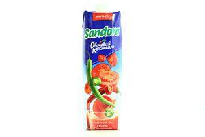 Сок Овощной коктейль томатный Пикантный с солью Сандора т/п 0,95л