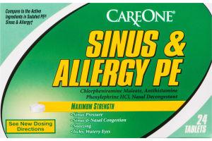 CareOne Sinus & Allergy PE Maximum Strength Tablets - 24 CT