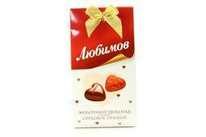 Конфеты молочный шоколад с ореховым пралине Любимов 105г