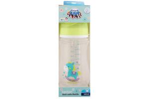 Пляшка з широким отвором антиколікова Easystart - Toys 240 мл зелений коник 35/221_gre