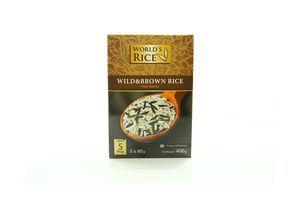 Смесь риса дикого и коричневого в пакетиках World's Rice к/у 5х80г