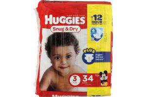 Huggies Snug & Dry Diapers Size 3 - 34 CT