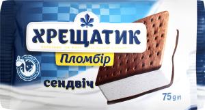 Мороженое 15% Пломбир Сэндвич на печенье с какао Хрещатик м/у 75г