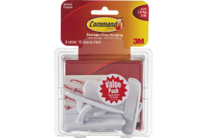 3M Command Damage-Free Hanging Hooks/Medium Strips - 6 CT