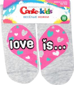 CONTE-KIDS TIP-TOP Шкарпетки дитячі (веселі ніжки) р.22 279 світло-сірий