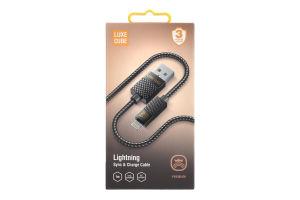 Кабель USB 1м сірий Lightning Рremium Luxe Cube 1шт