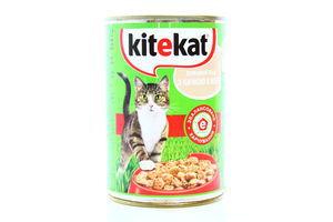 Корм для взрослых котов C уткой в желе Домашний обед Kitekat 400г