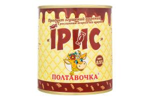 Продукт згущений 8.5% варений з рослинним жиром та цукром Ірис Полтавочка з/б 370г