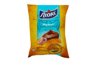 Чипсы картофельные со вкусом соус барбекю с мясом Мужественные Люкс м/у 133г
