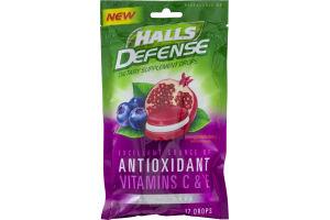 Halls Defense Sugar Free Pomegranate Berry Dietary Supplement Drops - 17 CT