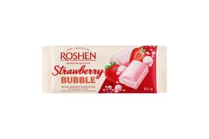 Шоколад білий пористий Strawberry Bubbles Roshen м/у 80г