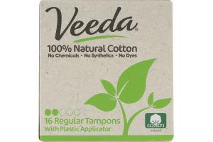 Veeda 100% Natural Cotton Tampons Regular - 16 CT