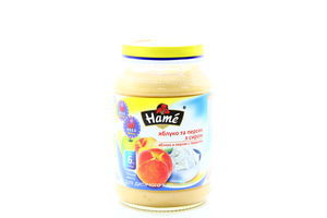 Пюре для детей от 6мес Яблоко и персик с творогом Hame с/б 190г