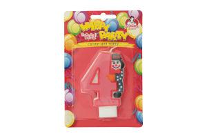 Свічка-цифра для торту з клоуном №4 Happy Party Помічниця 1шт