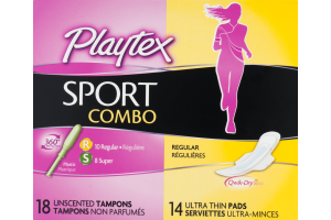 Playtex Sport Combo Unscented Tampons and Ultra Thin Pads - 32 CT