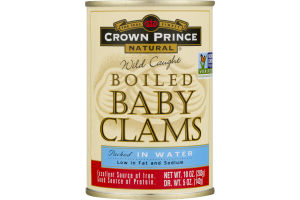 Crown Prince Natural Wild Caught Boiled Baby Clams Packed In Water