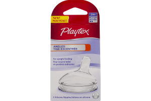 Playtex Angled Silicone Nipples 3 M+ Medium - 2 CT