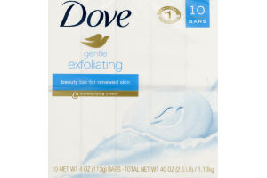 Dove Beauty Bar For Renewed Skin Gentle Exfoliating - 10 CT