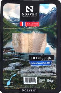 Сельдь в масле с голубой солью Norven п/у 250г