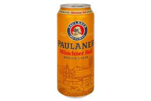 Пиво 0.5л 4.9% светлое Paulaner Original Munchner Hell ж/б