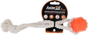 Снаряд тренировочный для собак 4см оранжевый №88172 Шар с канатом Fun AnimAll 1шт