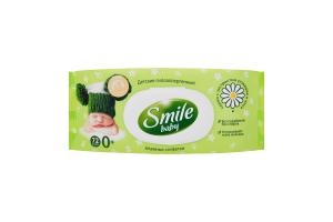 Салфетки влажные детские с экстрактом алоэ и ромашки Baby Smile 72шт