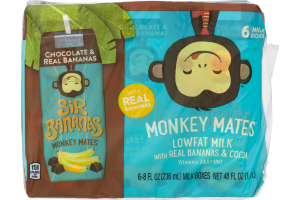 Sir Bananas Monkey Mates Lowfat Milk with Real Bananas & Cocoa - 6 CT