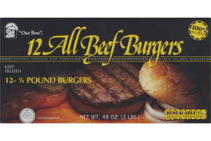 Our Best All Beef Burgers - 12 CT