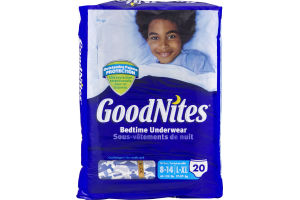 GoodNites Bedtime Underwear 8-14/L-XL Cool Designs - 20 CT