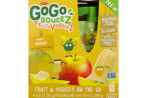 GoGo Squeez Fruit & VeggieZ On The Go Mighty Mango - 4 CT