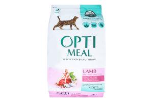 Корм сухой с ягненком для взрослых котов с чувствительным пищеварением Optimeal м/у 4кг