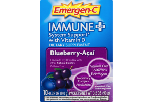 Emergen-C Immune+ Dietary Supplement System Support With Vitamin D Flavored Fizzy Drink Mix Blueberry-Acai - 10 CT