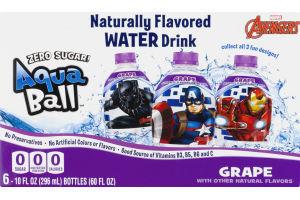 AquaBall Flavored Water Drink Zero Sugar Grape - 6 PK