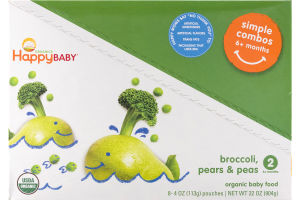 HappyBaby Organics Organic Baby Food Simple Combos 2 Broccoli, Pears & Peas - 8 CT