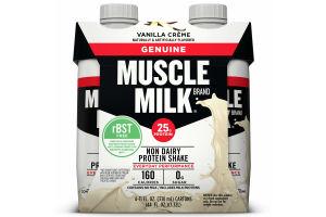 Muscle Milk Genuine Non-Dairy Protein Shake, Vanilla Crème, 25g Protein, Ready to Drink, 11 fl. oz., 4 Pack