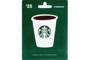 Starbucks $25 Gift Card
