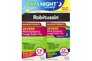 Robitussin Day & Night Cold Relief Maximum Strength Severe Multi-Sympton Cough Cold + Flu Adult - 2 CT